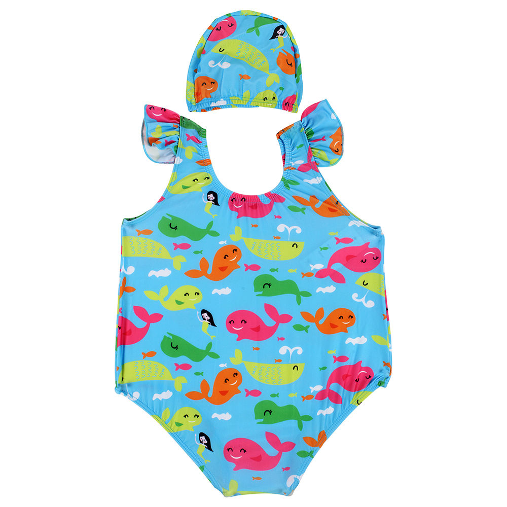 9f71e51653 Hopscotch - Yellow Bee - Blue Whale Print Swim Suit with Cap for Girl's