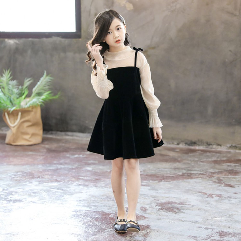 Solid Black Lace With Full Sleeves Casual Dresses For Girl\u0027s