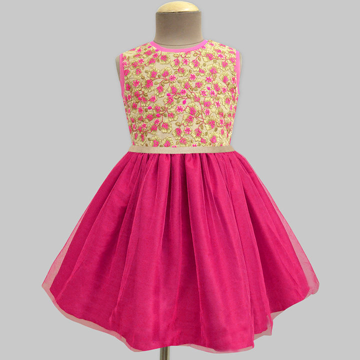 39331311ae Blonde Emily Floral Bloom Embroidered Fuchsia Tulle Overlay Dress