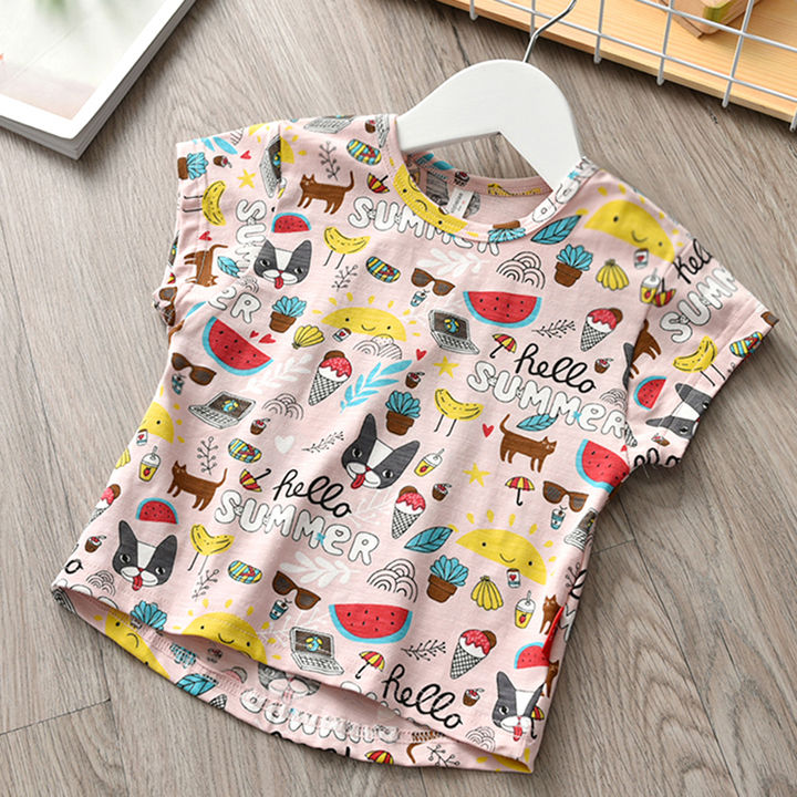 c83eac927334 Hopscotch - Aile Rabbit - Pink All Over Printed Half Sleeves T-Shirt For  Girls