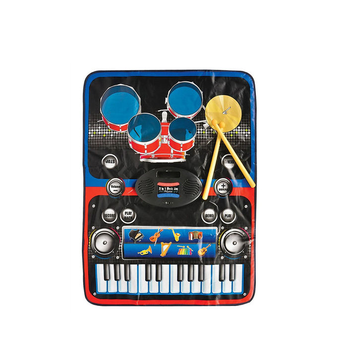 2 in 1 Electronic Touch Sensitive Piano and Drums Musical Jam Playmat  Learning Toy with MP3 Cable