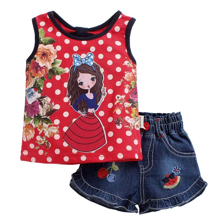514e8eeae77e3 Hopscotch - U R Cute - Red Polka Dots and Barbie Print Sleeveless Top and  Denim Shorts