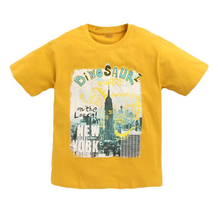7d4352b13d Hopscotch - Curlous - New York City Print Half Sleeves Mustard Yellow T- Shirt