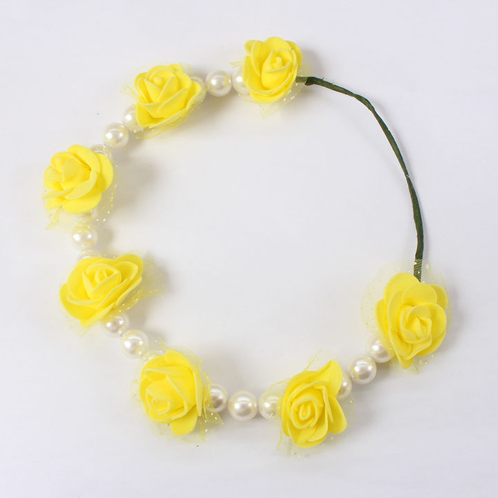 Head Tiara-Yellow Flowers & White Pearls