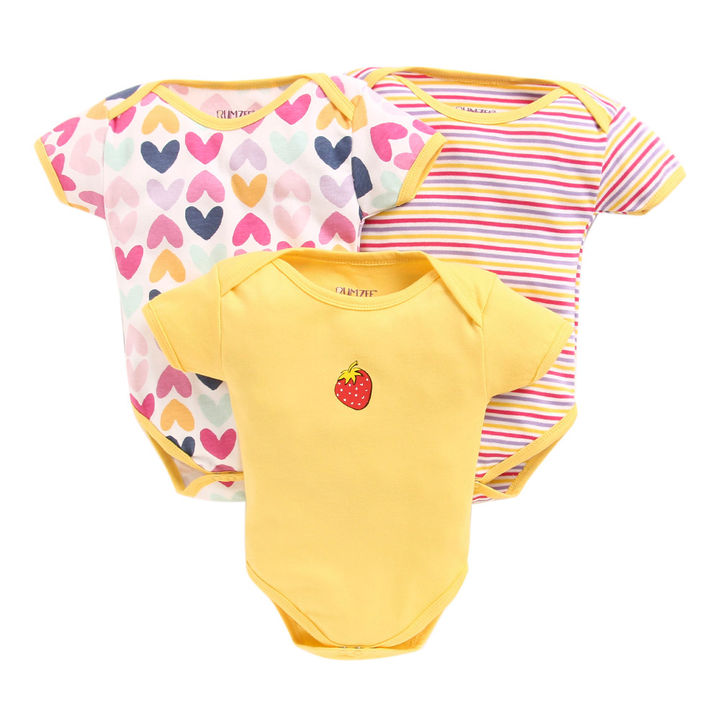 Summer Ready Baby Onesies and Rompers  Pack Of 3 - Yellow