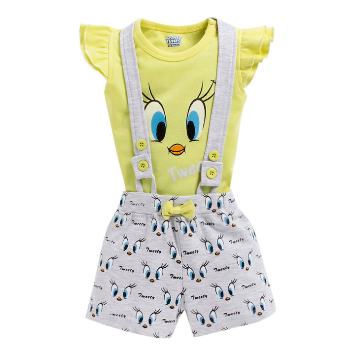 87a0f4f18 Hopscotch - Mom's Love - Tweety Printed Round Neck Top and Short Set -  Yellow