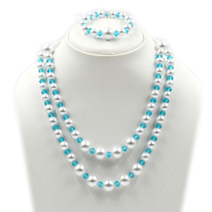 ce4f78cbaa Hopscotch - Magic Needles - Blue Color Two Layer Necklace & Bracelet Set