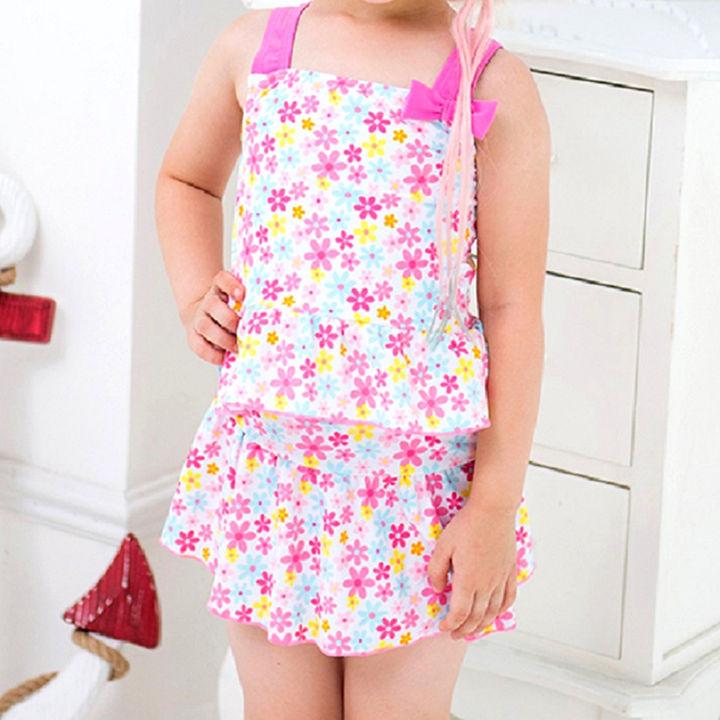 0309328753e Hopscotch - Cherry Blossoms - Pink Two Piece Floral Swimsuit