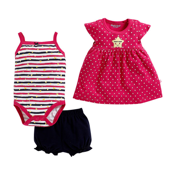 9f53a17dbe086 Multi Star Print Set Of Onesies and Dress with Bloomer