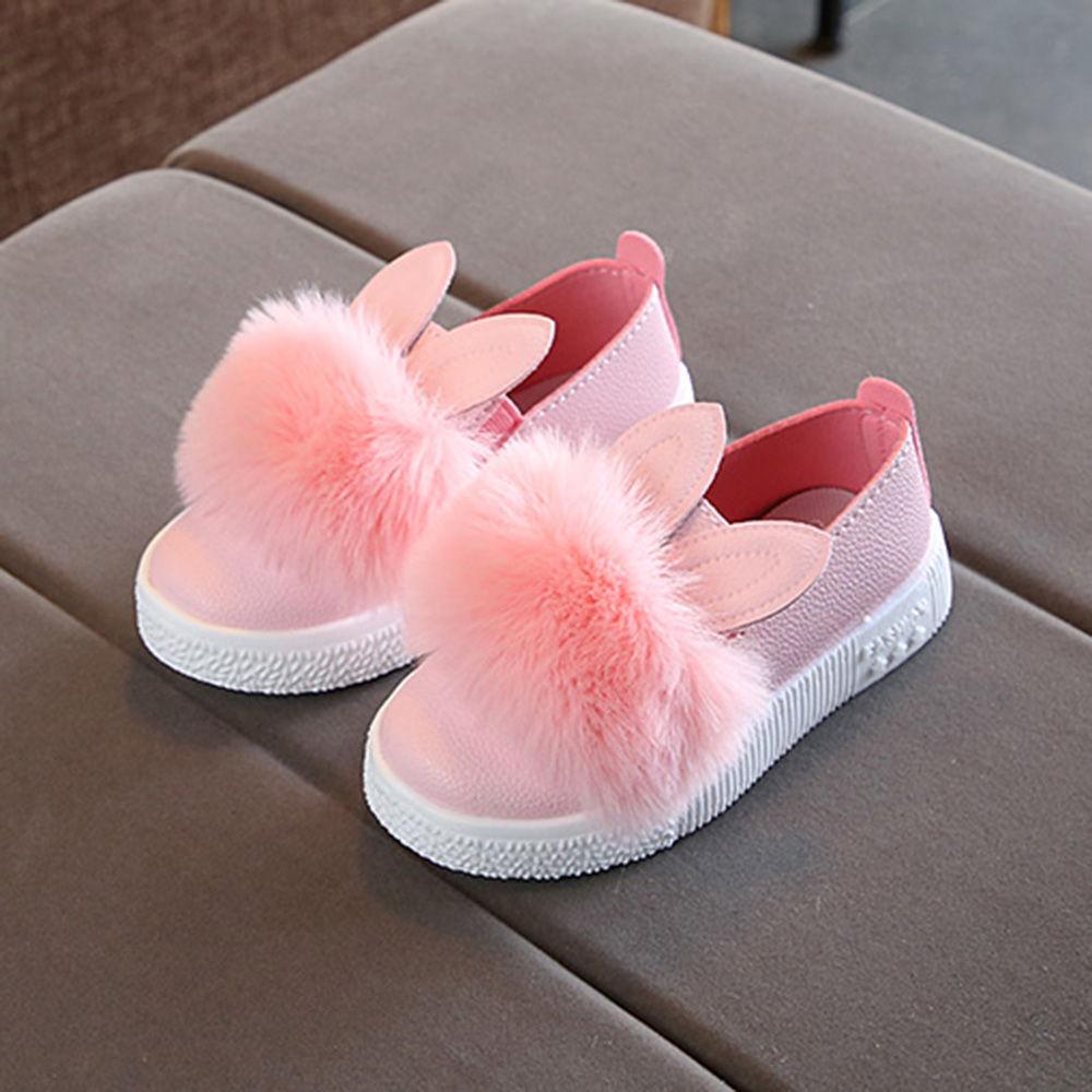 Buy Pink Fur Applique Slip On Shoes