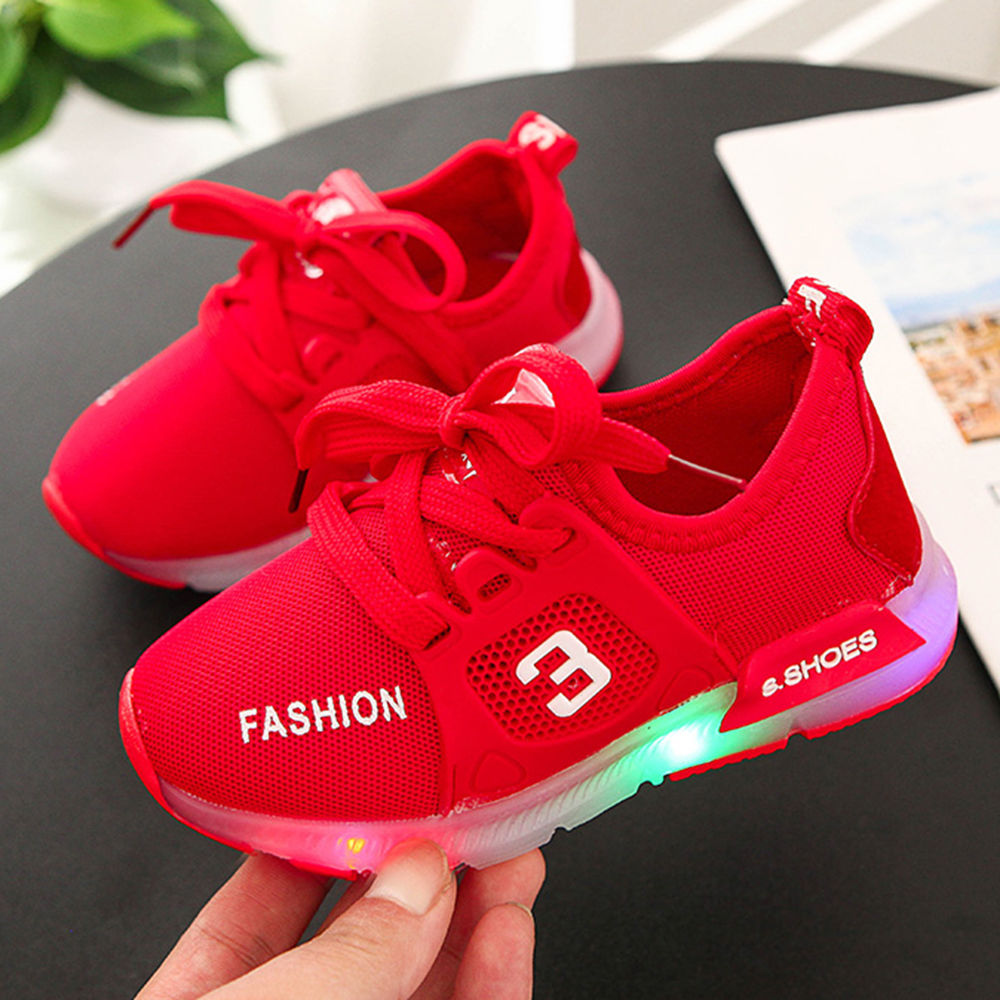 Buy Solid Red LED Sneaker With Lace