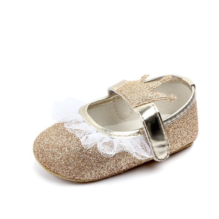 2992a1c905a3 Hopscotch - Zia Shoes - Gold Glittery Crown Applique Velcro Booties