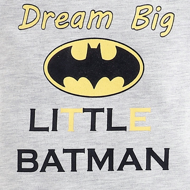 Gray Batman Graphic Print Set Of Onesies and Pyjama with Bib