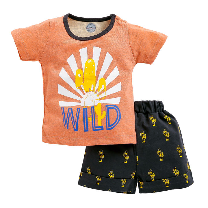 6cf25b9a7 Hopscotch - Mini Donut - Wild Cactus Print Half Sleeve T-Shirt and Short  Set - Orange