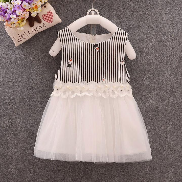Stripe Print Sleeveless Black and White Dress