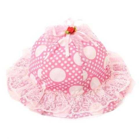 c7a4a09e558 Small Polka Dot Frill Bucket Print Hat - Dark Pink