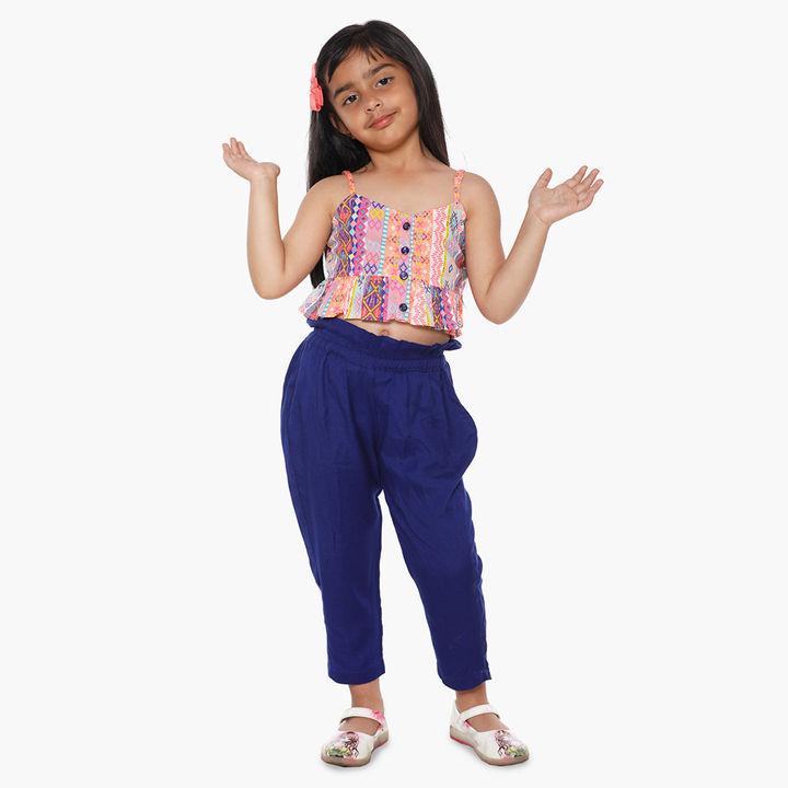 5e5369d44 Hopscotch - Lilpicks couture - Designer Neon Crop Top And Pant Set