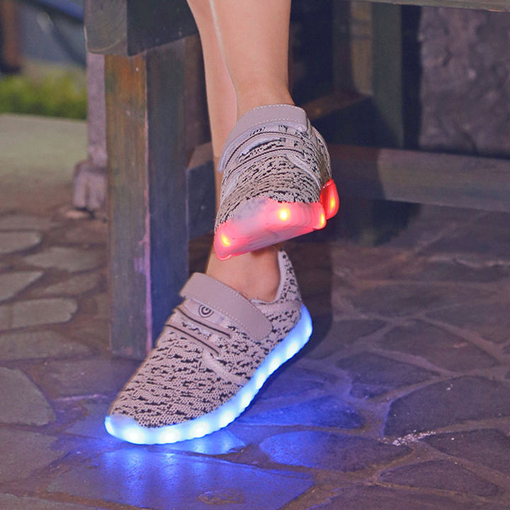 Gray Fixed Lace With Velcro USB Rechargeable LED Sneakers