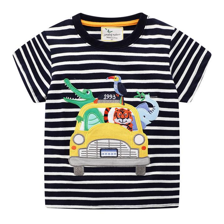7e437708a Hopscotch - Jumping Meters - Animal Print Half Sleeves Black T-Shirt