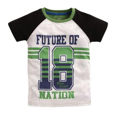 4b17e4dc5a6 Text Print Half Sleeves Green T-Shirt