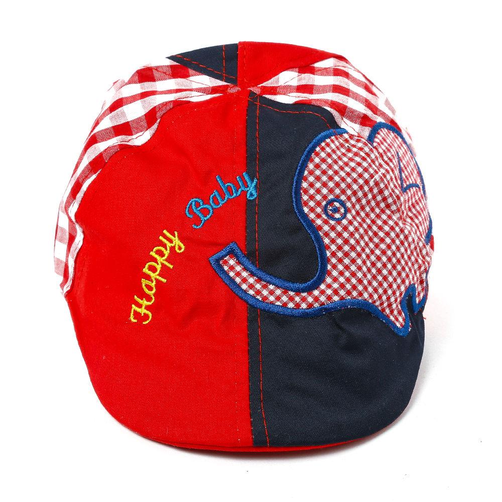 399ff48b69e7b Hopscotch - Seven Rainbows - Happy Baby Elephant Print Cap - Red and Black