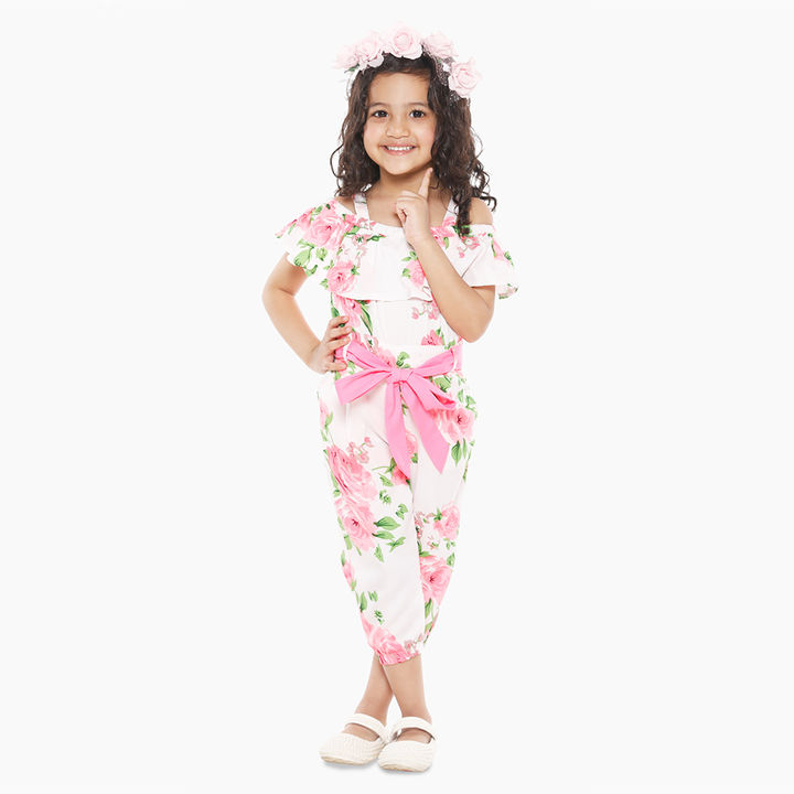 unparalleled price hot-selling cheap Neon Pink Floral Print Cold Shoulder Jumpsuit
