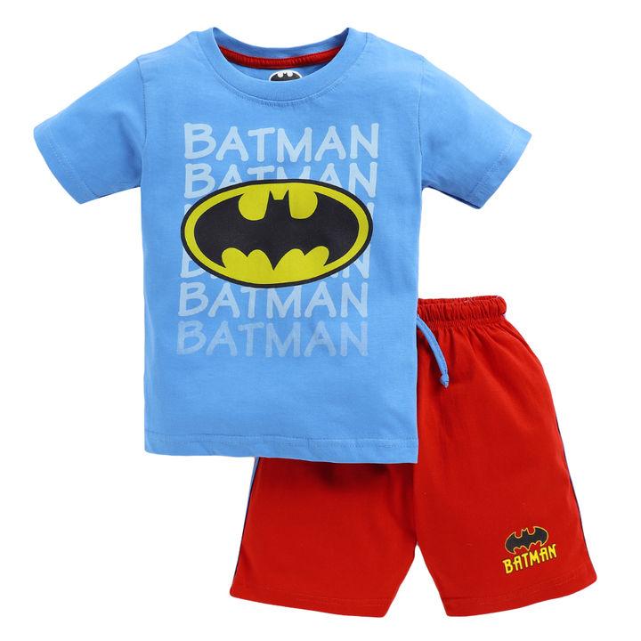 cfa5b2f054 Buy Sky Blue Half Sleeves Batman Logo Printed T-Shirt And Short Set For Boys  online @ ₹208 | Hopscotch
