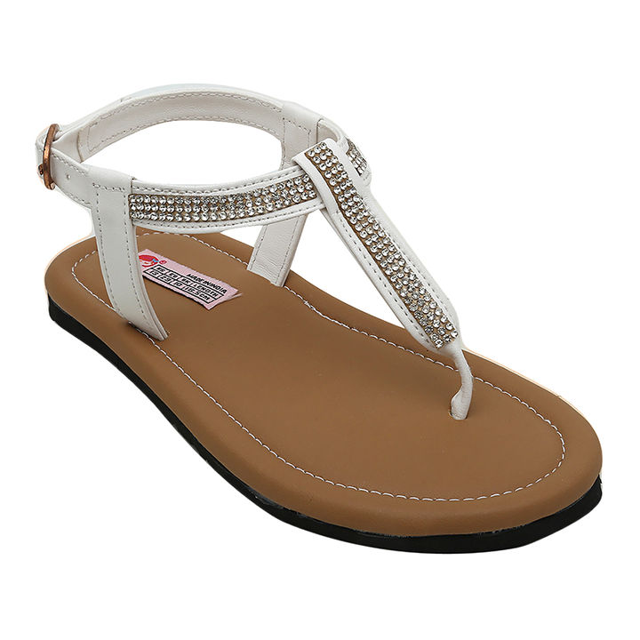 377567eda249 Hopscotch - Dchica - White Blingy Chic T-Strap Sandals For Girls