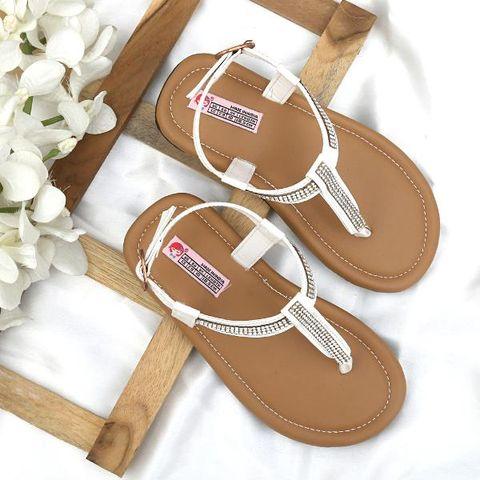 a36d3e4452e9 Golden Shimmer Ankle Length Gladiator For Girls. ₹599. White Blingy Chic  T-Strap Sandals For Girls