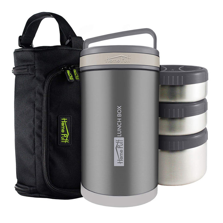 3b92bc69d9a1 Buy Stainless Steel Lunch Box With 3 Leak Proof Container - Gray ...