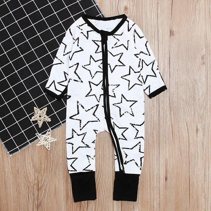 White Full Sleeve Star Printed Rompers