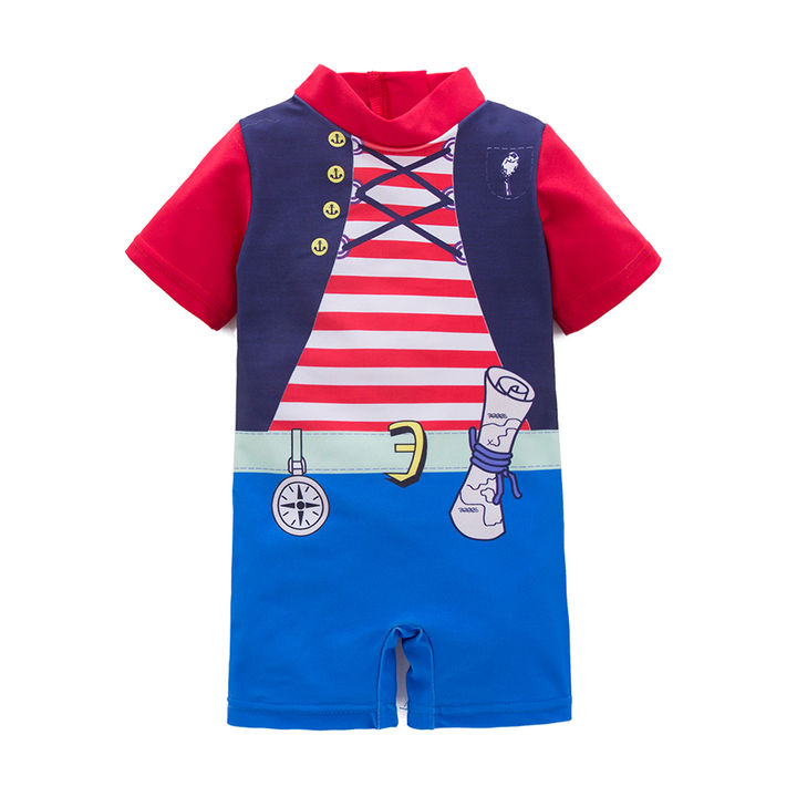 78d53c5cc3 Hopscotch - NYAN CAT - Red Stripe Printed Half Sleeves One Piece Swimsuits