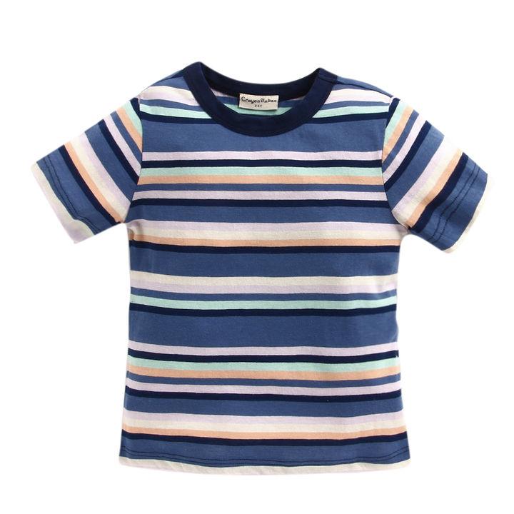 c96a97e566 Multi Horizontal Stripes Round Neck T-Shirt