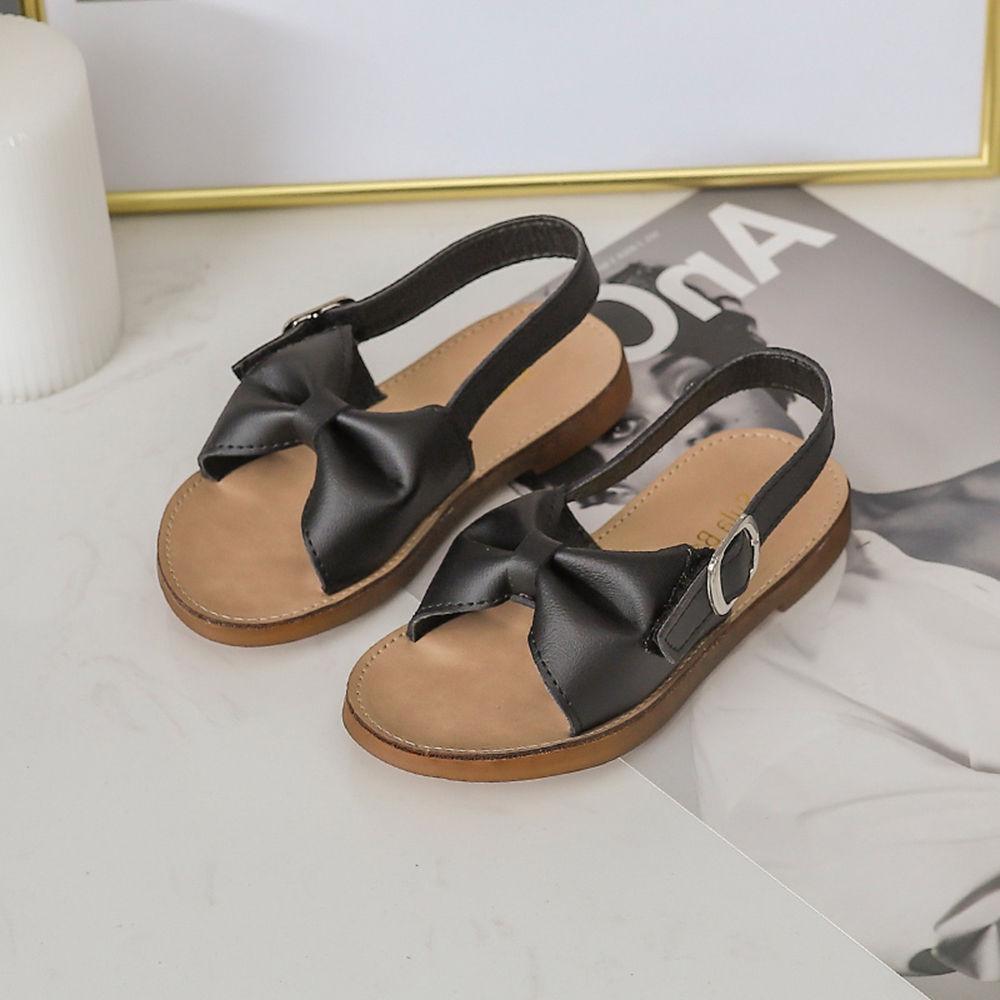 Sandals Cute Black Black Applique Bow Bow Applique j5RLq4A3