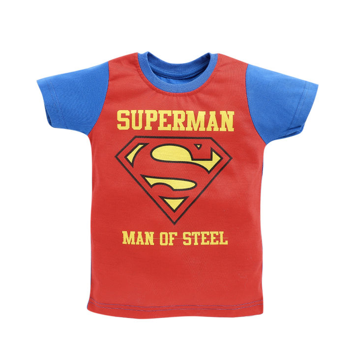 Superman Print Half Sleeves Red T-Shirt