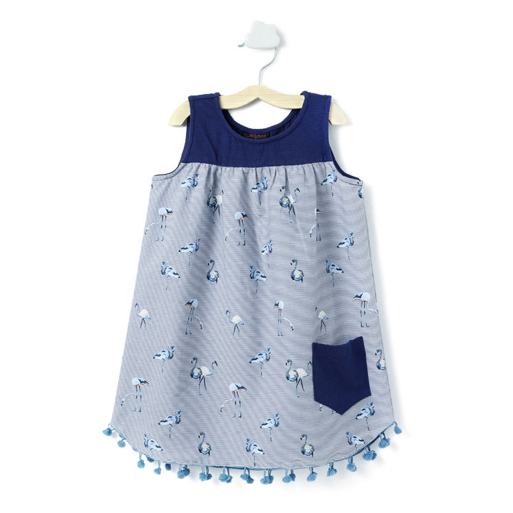 993c5be5cbde Buy Navy Pocket Applique Flamingo Print Sleeveless Dress online @ ₹399 |  Hopscotch