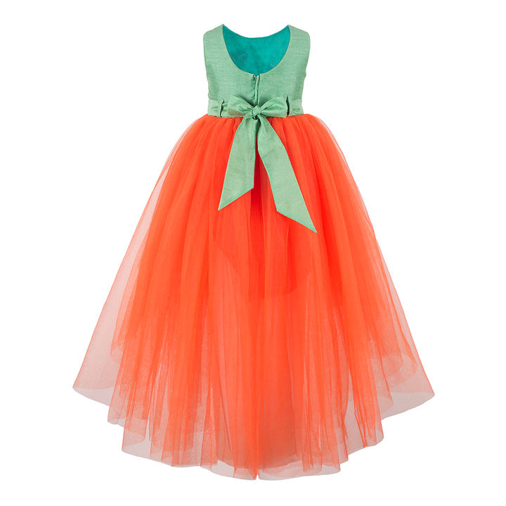 2337f8171708 Hopscotch - Toy Balloon Kids - Orange Floral Embroidery Stylish Party Dress  With Sash