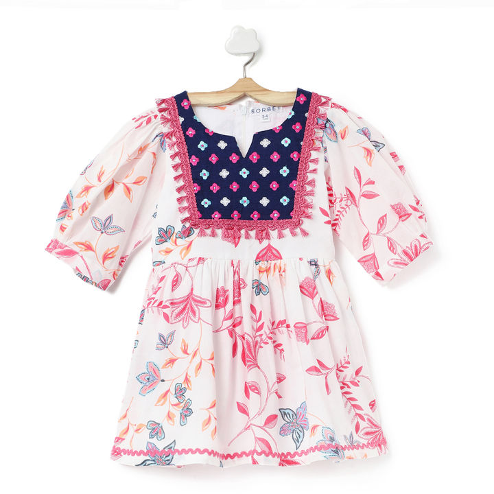 dff48d13441dd Buy White & Pink Printed Dress With Ruffles Embroidery and Pom Pom online @  ₹599 | Hopscotch
