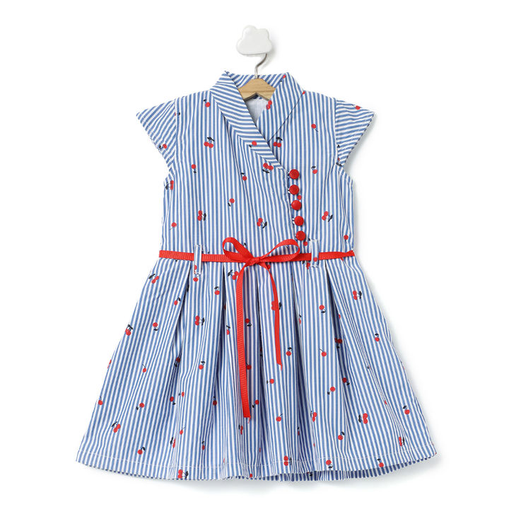 7b434e1b9d Red Cherry Blue and White Printed Dress With Front Tie