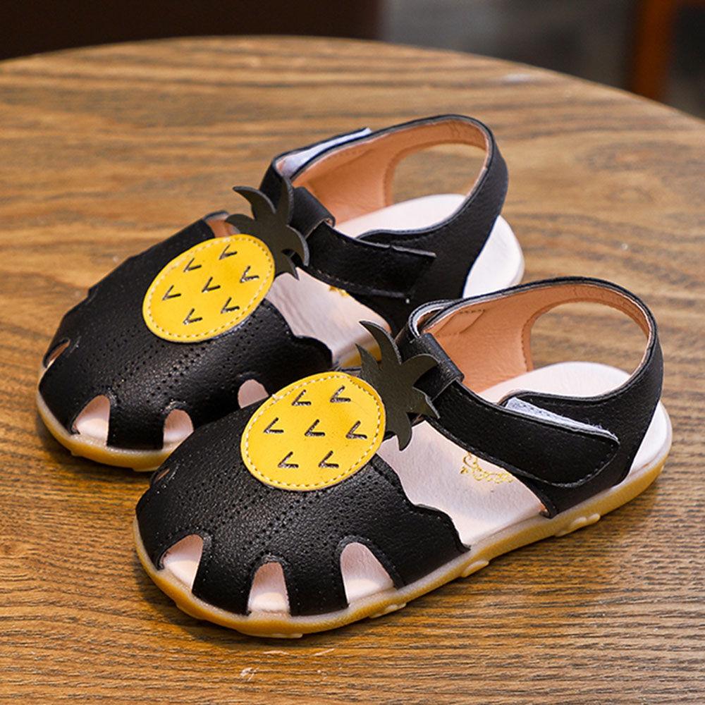 Velcro Black Applique Sandals Pineapple DH2WE9I