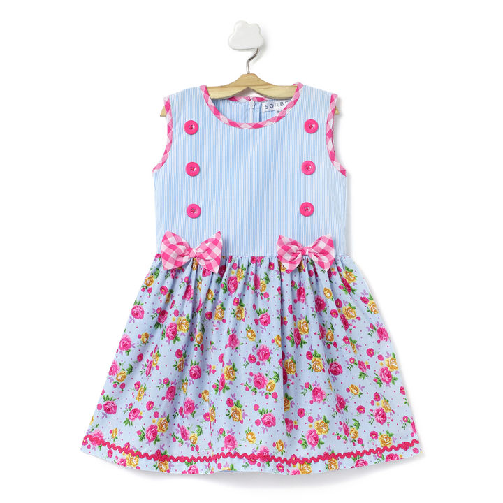 4415e929628d Buy Blue and Pink Printed Dress With Buttons and Bows online @ ₹499 |  Hopscotch