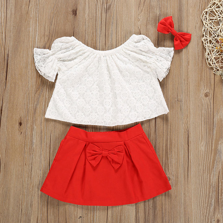 51fe868c814 Cute Red Floral Embroidered Skirt Set
