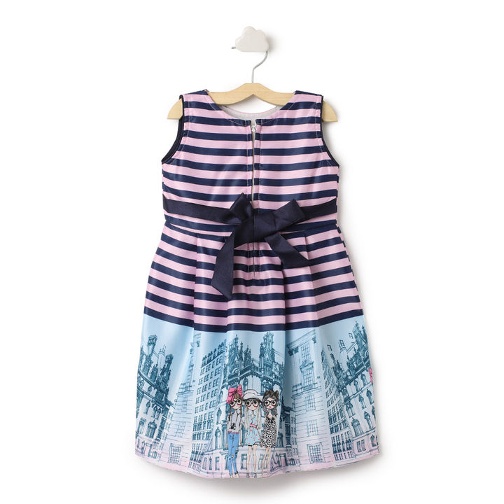 Pink Stripes With Bow Applique Dress