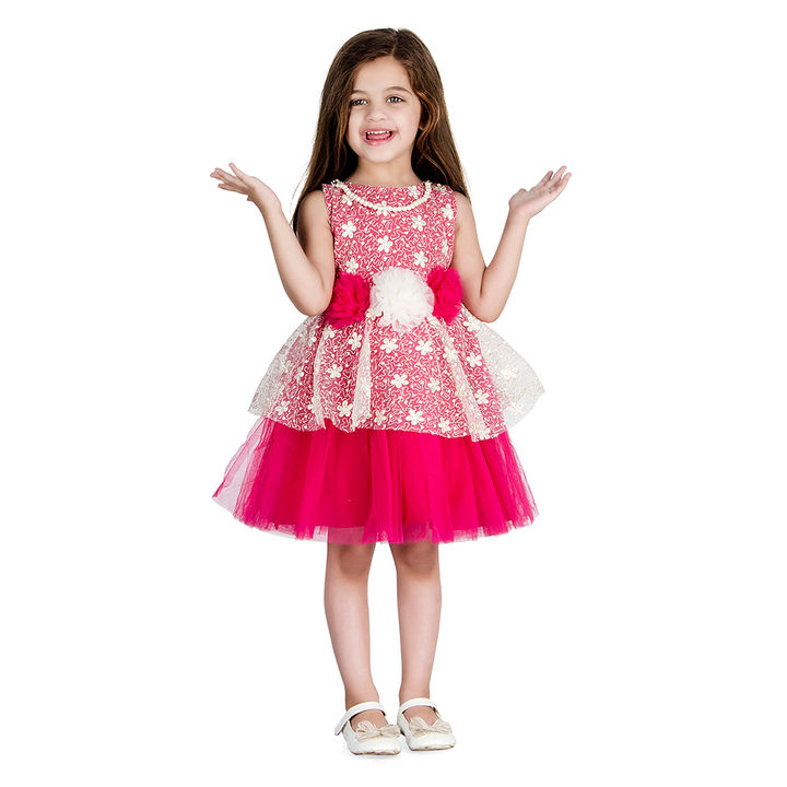 62bbb15937005 Fuchsia Floral Applique Sleeveless Dress