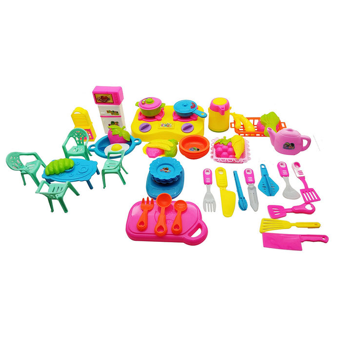 52 Pcs Cookware Pretend Play Kitchen Set Toy With Accessories For Kids