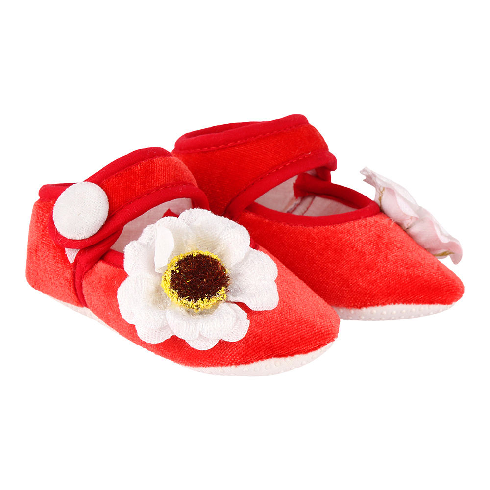 Buy Red Velvet Baby Shoes With White
